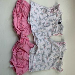 1-3. Month unicorn top and pink bottoms
